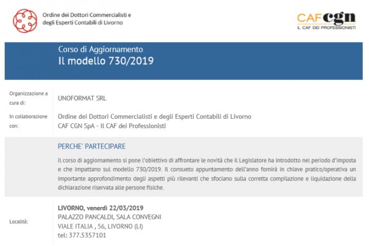 Corso di Aggiornamento Il modello 730/2019 organizzato da Uniformat, centro congressi Pancaldi - Livorno