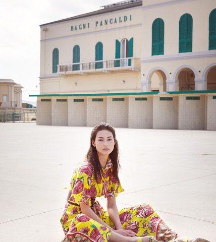 Palazzo Pancaldi e lo stabilimento balneare Pancaldi come location del servizio fotografico per il brand internazionale di abbigliamento Maryley.